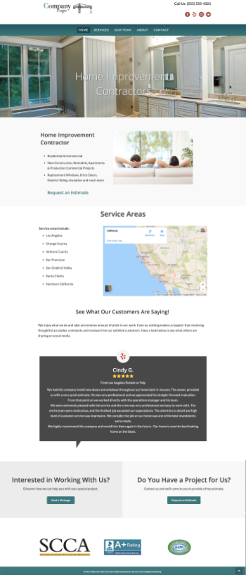 Demo Website One Home Page Example